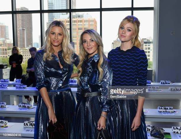 Morgan Stewart, Christie Ferrari and Katherine McNamara attend the Milly by Michelle Smith front row during New York Fashion Week: The Shows at...