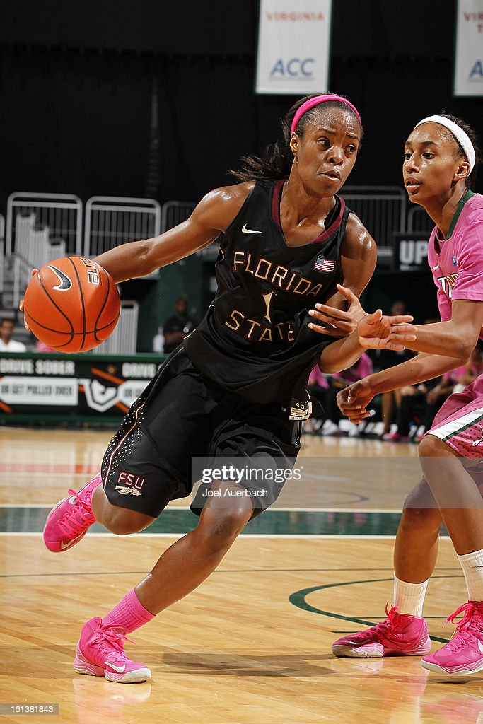 Morgan Toles #1 of the Florida State Seminoles drives to the basket against the Miami Hurricanes during second half action on February 10, 2013 at the BankUnited Center in Coral Gables, Florida. The Seminoles defeated the Hurricanes 93-78.