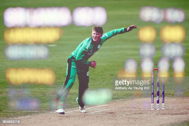 Morgan Topping of Ireland bowls during the ICC U19 Cricket World Cup match between Sri Lanka and Ireland at Cobham Oval on January 14 2018 in...