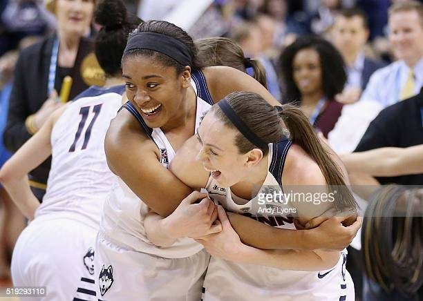 Morgan Tuck and Breanna Stewart of the Connecticut Huskies celebrates their 8251 victory over the Syracuse Orange to win the 2016 NCAA Women's Final...
