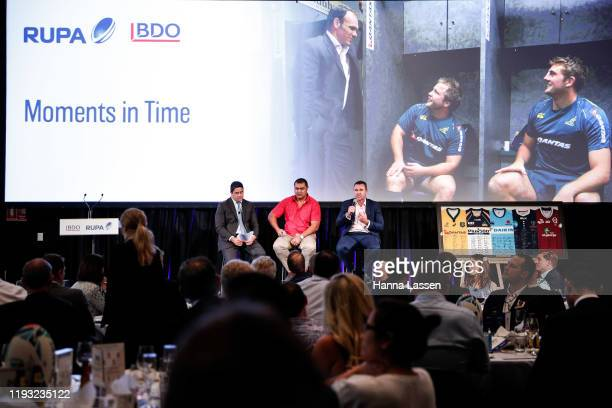 Morgan Turinui, Toutai Kefu and Joe Roff speak during panel discussion at the Rugby Union Players' Association Lunch at The Ivy on December 11, 2019...