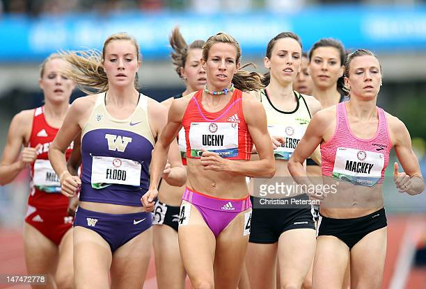 Morgan Uceny competes in the Women's 1500 Meter Run on day seven of the U.S. Olympic Track & Field Team Trials at the Hayward Field on June 28, 2012...