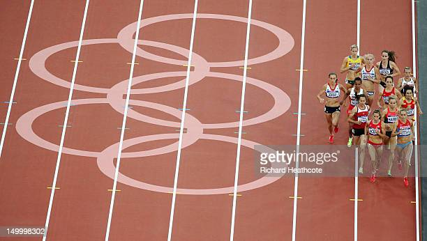 Morgan Uceny of the United States and Ekaterina Kostetskaya of Russia competes in the Women's 1500m Semifinals on Day 12 of the London 2012 Olympic...