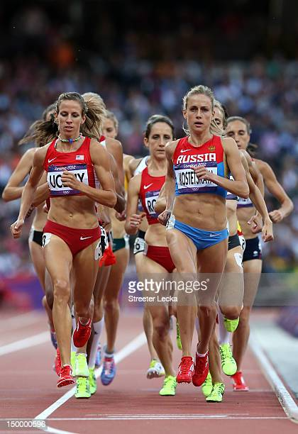 Morgan Uceny of the United States and Ekaterina Kostetskaya of Russia compete in the Women's 1500m Semifinals on Day 12 of the London 2012 Olympic...
