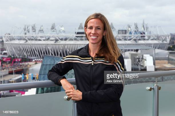Morgan Uceny of the United States at the adidas Olympic Media Lounge at Westfield Stratford City on August 4, 2012 in London, England.