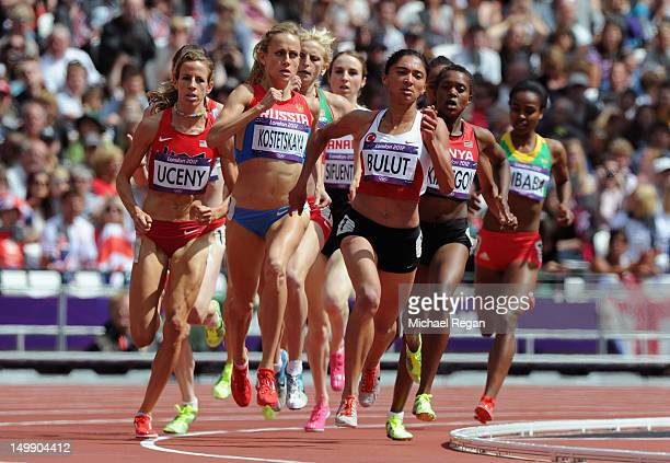 Morgan Uceny of the United States, Ekaterina Kostetskaya of Russia and Gamze Bulut of Turkey compete in the Women's 1500m heat on Day 10 of the...