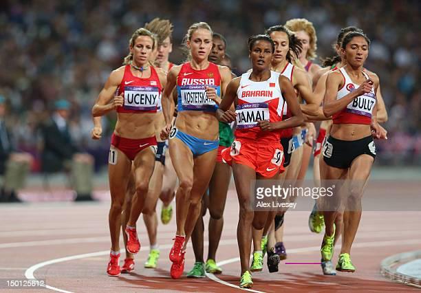 Morgan Uceny of the United States, Ekaterina Kostetskaya of Russia, Maryam Yusuf Jamal of Bahrain and Gamze Bulut of Turkey compete in the Women's...
