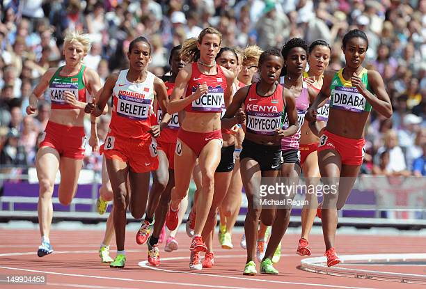 Morgan Uceny of the United States, Faith Chepngetich Kipyegon of Kenya and Genzebe Dibaba of Ethiopia compete in the Women's 1500m heat on Day 10 of...