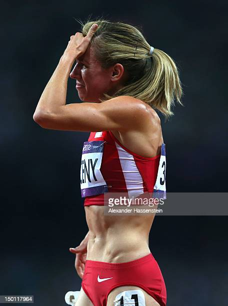 Morgan Uceny of the United States reacts after competing in the Women's 1500m Final on Day 14 of the London 2012 Olympic Games at Olympic Stadium on...
