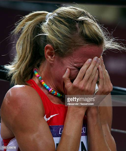 Morgan Uceny of the United States reacts after falling and failing to finish in the Women's 1500m Final on Day 14 of the London 2012 Olympic Games at...