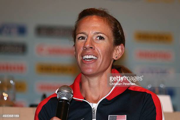Morgan Uceny of the United States speaks at a press conference ahead of the IAAF World Relays at the Melia Hotel on May 23, 2014 in Nassau, Bahamas.