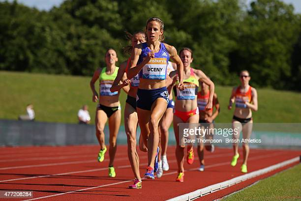 Morgan Uceny of the USA leads the 1500 metres during the Sainsbury's Birmingham Grand Prix - Diamond League at The Alexander Stadium on June 7, 2015...