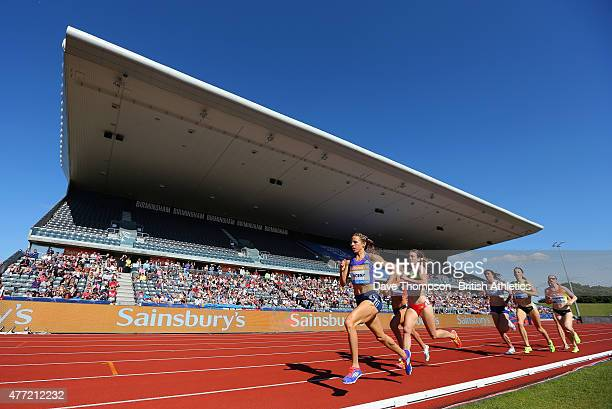 Morgan Uceny of the USA leads the Women's 1500 metres during the Sainsbury's Birmingham Grand Prix - Diamond League at The Alexander Stadium on June...