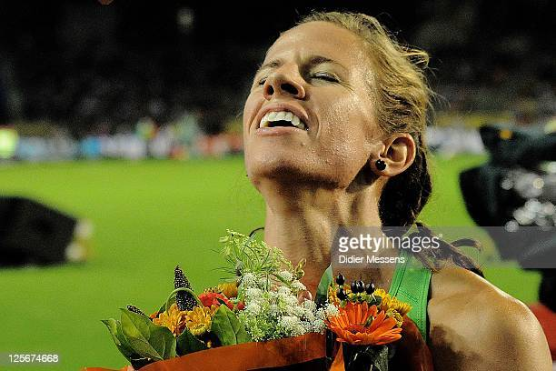 Morgan Uceny of USA celebrates after taking the victory on the 1500m Women during the IAAF Golden League Memorial Van Damme meet at the King Baudouin...