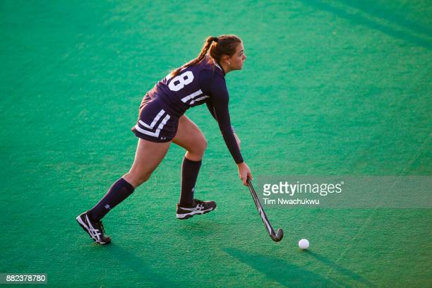 Morgan Vasiliu of Messiah College dribbles the ball during the Division III Women's Field Hockey Championship held at Trager Stadium on November 19...