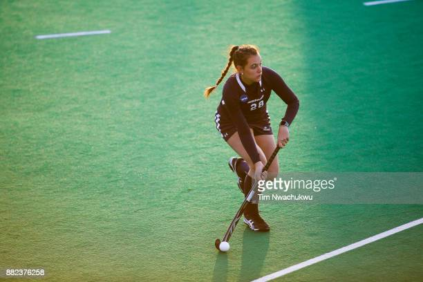 Morgan Vasiliu of Messiah College looks for an open teammate during the Division III Women's Field Hockey Championship held at Trager Stadium on...