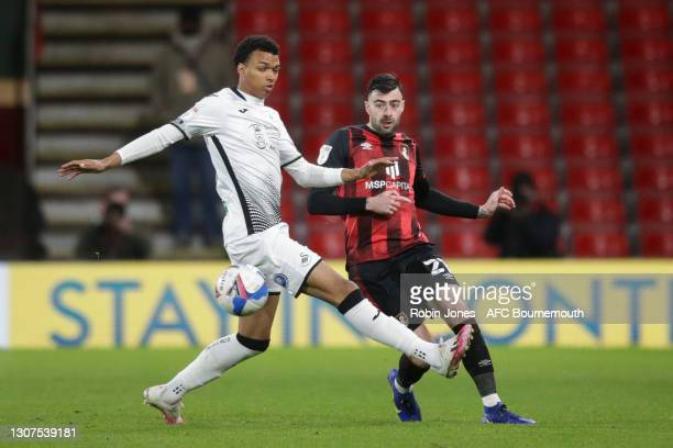 Morgan Whittaker of Swansea City and Diego Rico of Bournemouth during the Sky Bet Championship match between AFC Bournemouth and Swansea City at...