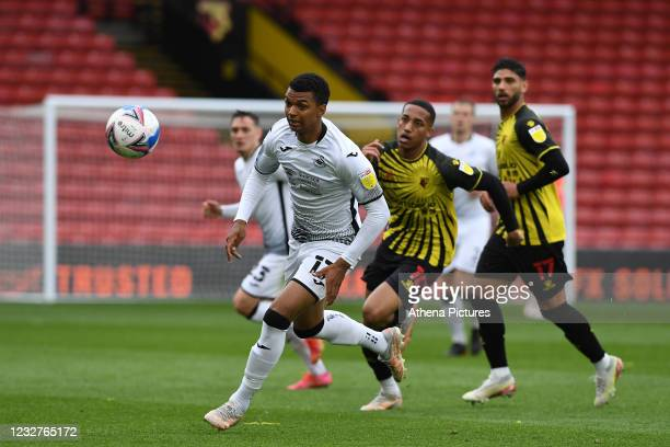 Morgan Whittaker of Swansea City in action during the Sky Bet Championship match between Watford and Swansea City at Vicarage Road on May 08, 2021 in...