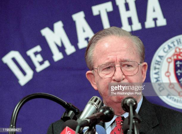 Morgan Wootten announces his retirement at an afternoon press conference at DeMatha Pictured the legendary coach makes his goodbye's from a podium in...