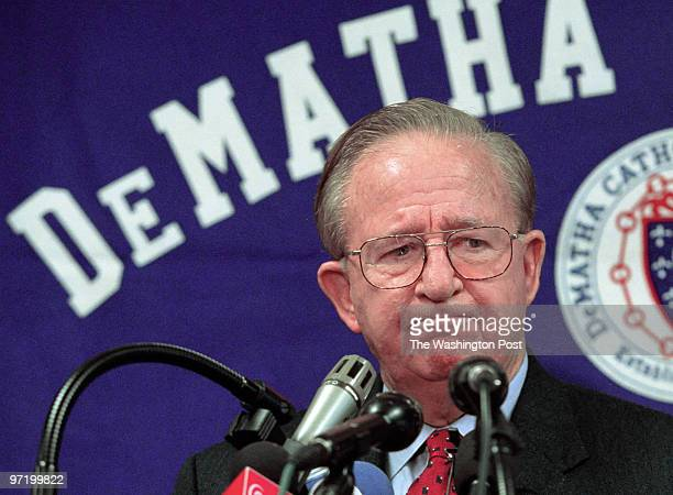 WOOTTEN Morgan Wootten announces his retirement at an afternoon press conference at DeMatha Pictured the legendary coach makes his goodbye's from a...