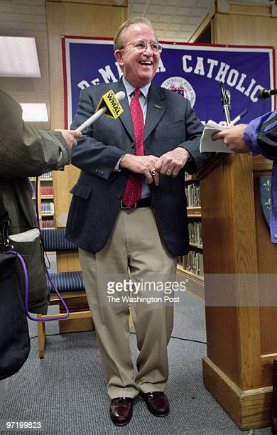 WOOTTEN Morgan Wootten announces his retirement at an afternoon press conference at DeMatha Pictured the legendary coach takes questions from...