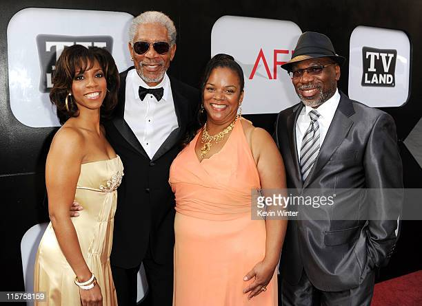Morgana Freeman, 39th Life Achievement Award recipient Morgan Freeman, daughter Deena Adair and son Alfonso Freeman arrive at the 39th AFI Life...