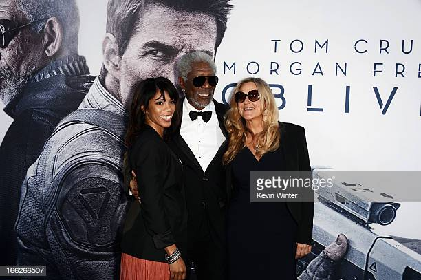 Morgana Freeman actor Morgan Freeman and producer Lori McCreary arrive at the premiere of Universal Pictures' Oblivion at Dolby Theatre on April 10...