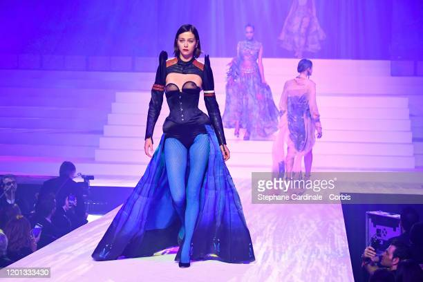 Morgane Dubled walks the runway during the JeanPaul Gaultier Haute Couture Spring/Summer 2020 show as part of Paris Fashion Week at Theatre Du...