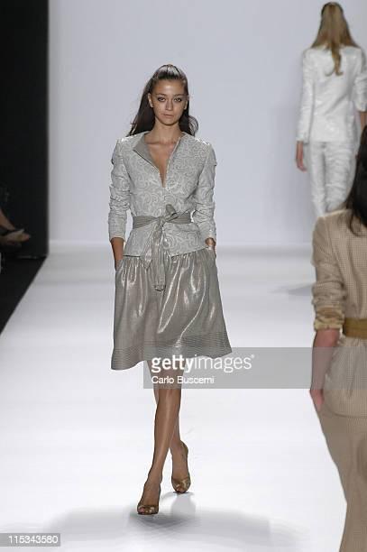 Morgane Dubled wearing Bill Blass Spring 2006 during Olympus Fashion Week Spring 2006 Bill Blass Runway at Bryant Park in New York City New York...
