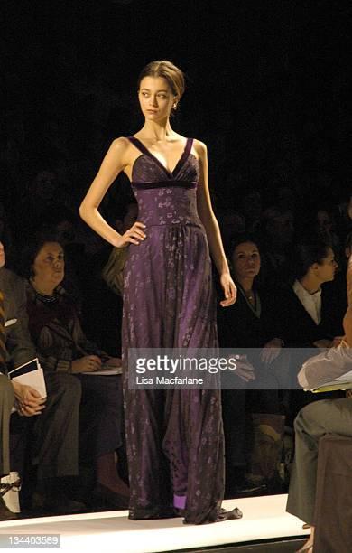 Morgane Dubled wearing Carolina Herrera Fall 2005 during Olympus Fashion Week Fall 2005 Carolina Herrera Front Row and Runway at The Tent Bryant Park...