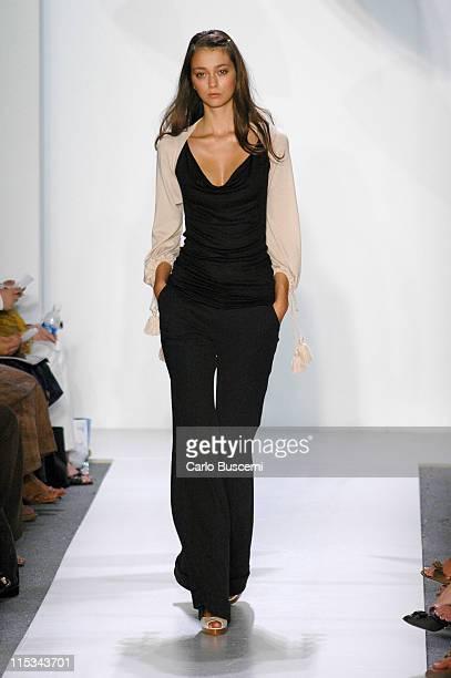 Morgane Dubled wearing Chaiken Spring 2006 during Olympus Fashion Week Spring 2006 Chaiken Runway at Bryant Park in New York City New York United...