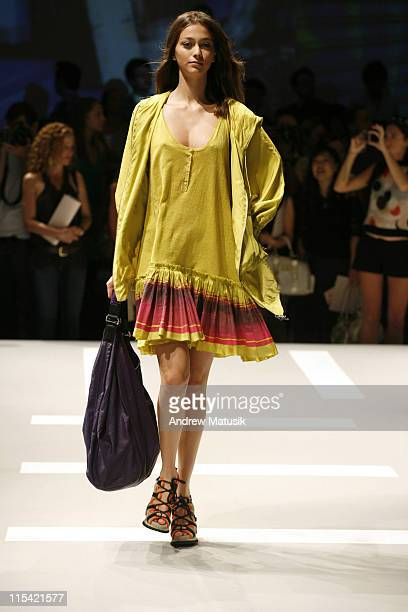 Morgane Dubled wearing DKNY Spring 2007 during Olympus Fashion Week Spring 2007 DKNY Runway at 711 Greenwich Street in New York City New York United...
