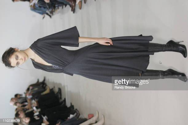 Morgane Dubled wearing Doori Fall 2005 during Olympus Fashion Week Fall 2005 Doori Runway at Peter White Studios in New York City New York United...