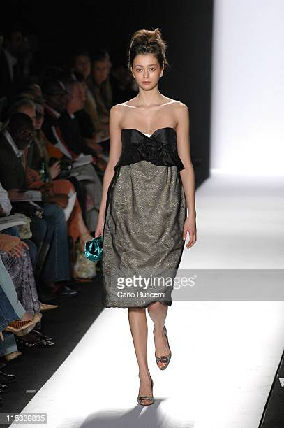 Morgane Dubled wearing Luca Luca Fall 2005 during Olympus Fashion Week Fall 2005 Luca Luca Runway at The Tent Bryant Park in New York City New York...