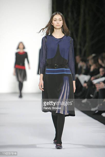 Morgane Dubled wearing Marc Jacobs Fall 2005 during Olympus Fashion Week Fall 2005 Marc Jacobs Runway at New York State Armory in New York City New...