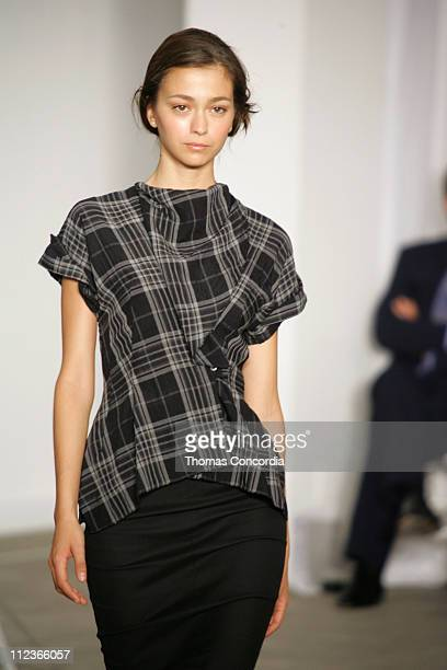 Morgane Dubled wearing Roland Mouret Spring 2006 during Olympus Fashion Week Spring 2006 Roland Mouret Runway at To Be Determined in New York City...