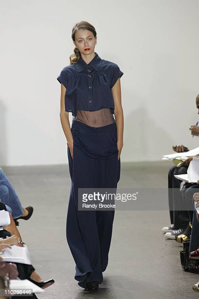 Morgane Dubled wearing TSE Spring 2007 during Olympus Fashion Week Spring 2007 TSE Runway at Lux in New York City New York United States