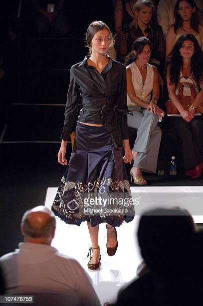 Morgane Dubled wearing Vera Wang Spring 2006 during Olympus Fashion Week Spring 2006 Vera Wang Runway at Bryant Park in New York New York United...