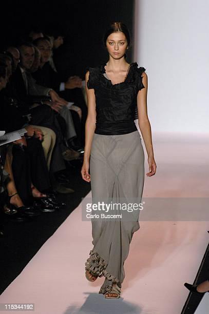 Morgane Dubled wearing Vera Wang Spring 2006 during Olympus Fashion Week Spring 2006 Vera Wang Runway at Bryant Park in New York City New York United...
