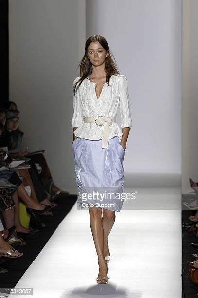 Morgane Dubled wearing Y Kei Spring 2006 during Olympus Fashion Week Spring 2006 Y Kei Runway at Bryant Park in New York City New York United States