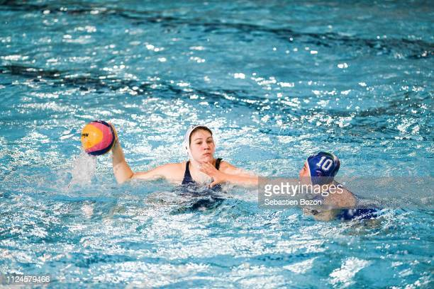 Morgane Leroux of France and Valeria Mariagrazia Palmieri during the Women's International Match Water Polo match between France and Italy on...