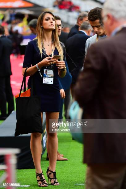 Morgane Raud Miss Ales 2015 before the Top 14 Final between RC Toulon and Clermont Auvergne at Stade de France on June 4 2017 in Paris France