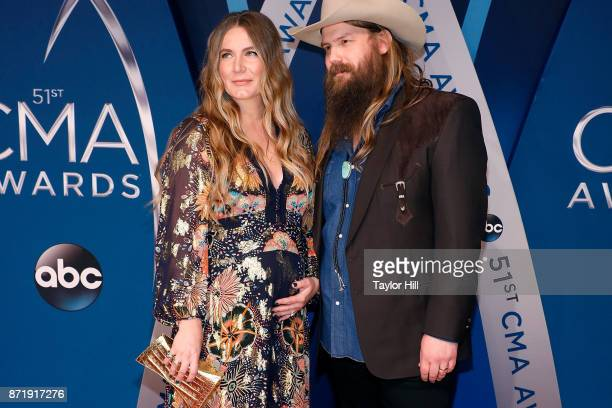 Morgane Stapleton and Chris Stapleton attend the 51st annual CMA Awards at the Bridgestone Arena on November 8 2017 in Nashville Tennessee