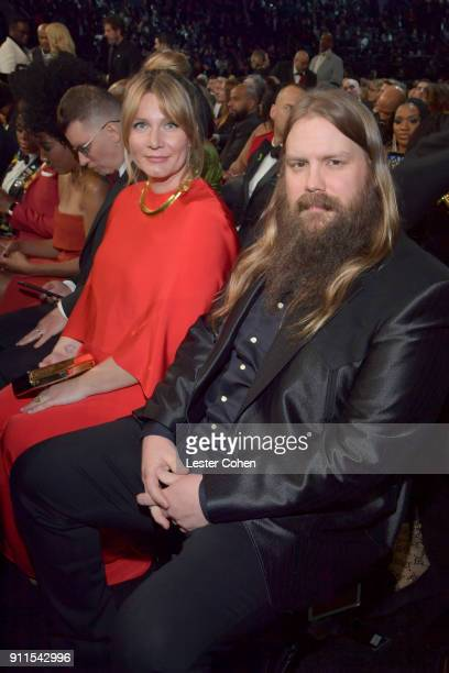 Morgane Stapleton and recording artist Chris Stapleton attend the 60th Annual GRAMMY Awards at Madison Square Garden on January 28 2018 in New York...