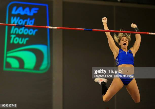 Morgann Leleux of USA competes in the womens pole vault final during the Muller Indoor Grand Prix event on the IAAF World Indoor Tour at the Emirates...