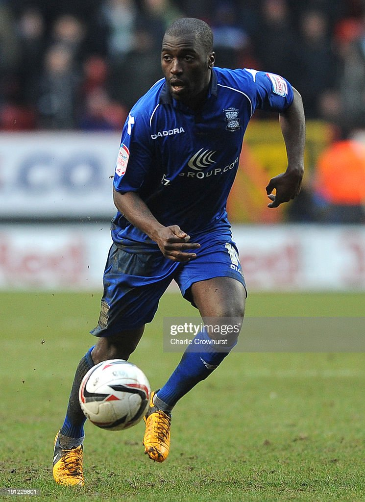 Morgaro Gomis of Birmingham attacks during the npower Championship match between Charlton Athletic and Birmingham City at The Valley on February 09, 2013 in London England.