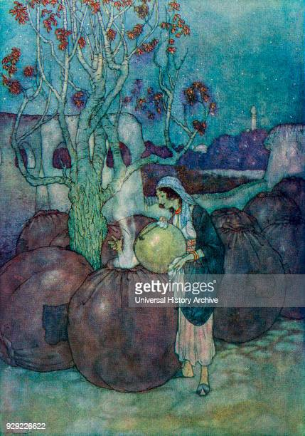 Morgiana poured into each jar in turn a suffieicient quantity of the boiling oil Illustration by Edmund Dulac for Ali Baba and the Forty Thieves From...