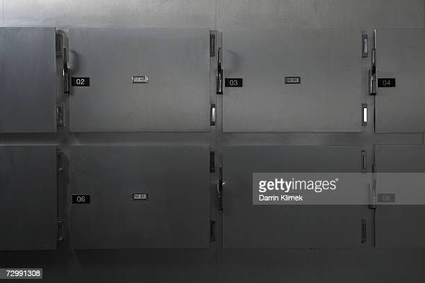 Morgue in hospital, close-up of doors