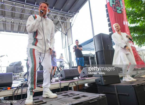 Morgxn and Nick Petricca of Walk the Moon peform on day three of Lollapalooza at Grant Park on August 4 2018 in Chicago Illinois