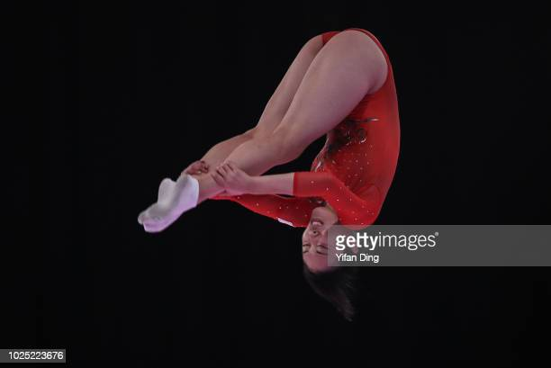 Mori Hikaru of Japan competes during GymnasticsÊWomen's Trampoline Final at JKT International EXPO on day twelve of the Asian Games on August 30,...